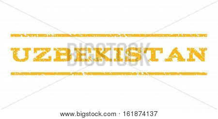 Uzbekistan watermark stamp. Text tag between horizontal parallel lines with grunge design style. Rubber seal stamp with dust texture. Vector yellow color ink imprint on a white background.