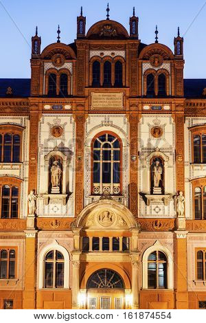 University of Rostock at night. Rostock Mecklenburg-Vorpommern Germany.
