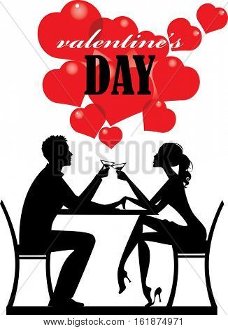 silhouette people, valentines day, man and woman couple, lover pair, romantic day