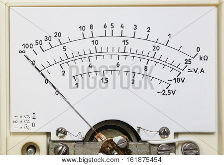 Retro analog Multimeter closeup, old measurement device
