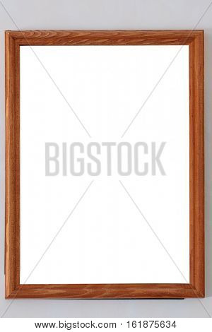 Empty frame from a picture, document, diploma or commendation on a wall