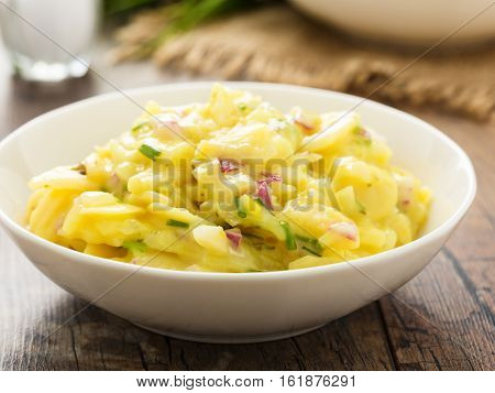 fresh potato salad with red onion and chives