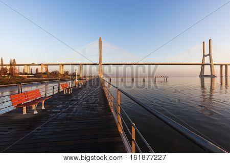 Vasco da Gama Bridge in Lisbon. Lisbon Portugal.