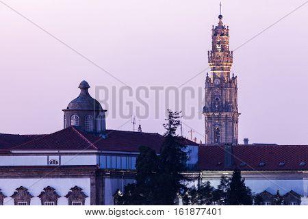 Clerics tower in Porto. Porto Norte Portugal.