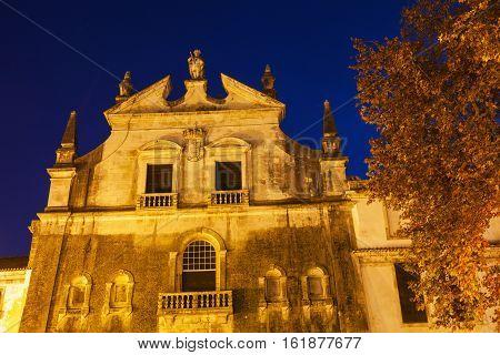 Alcobaca Monastery at night. Alcobaca Oesste Portugal.