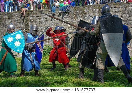 Koporje, Leningrad region, Russia - July 21, 2012: Reconstruction of knightly duels and battle chivalrous life camp. Knights battle.