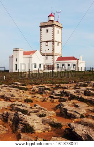 Cabo Carvoeiro Lighthouse in Portugal. Centro Region Portugal.