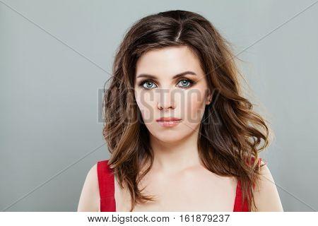 Elegant Woman Model with Smokey Eyes Makeup and Stylish Bob Hairstyle