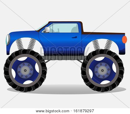 Monster truck with big wheels. Car vehicle in blue. Vector realistic illustration.