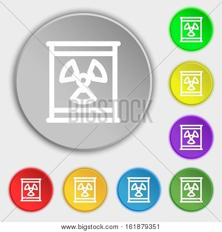 Radiation Icon Sign. Symbol On Eight Flat Buttons. Vector