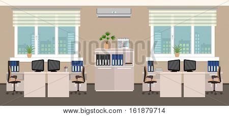 Office room interior including four work spaces with cityscape outside window. Flat style vector illustration.