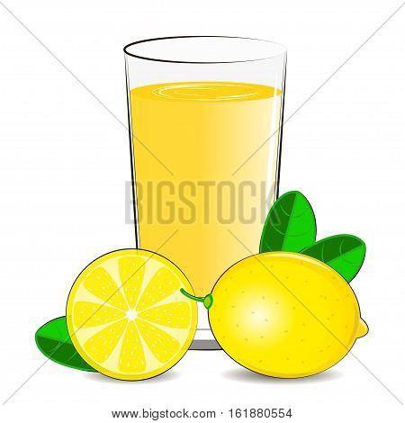 Vector illustration of glass with lemon juice and lemon citrus.