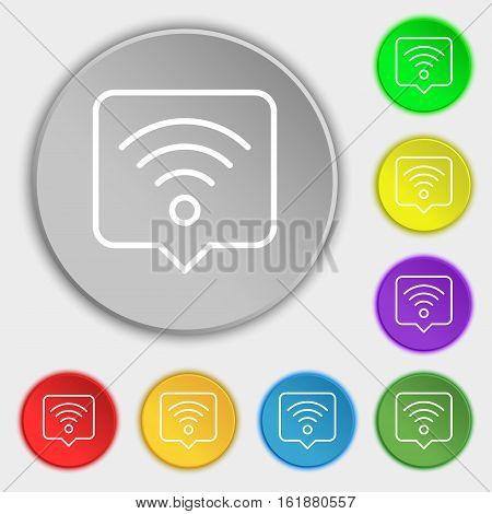Podcast Icon Sign. Symbol On Eight Flat Buttons. Vector