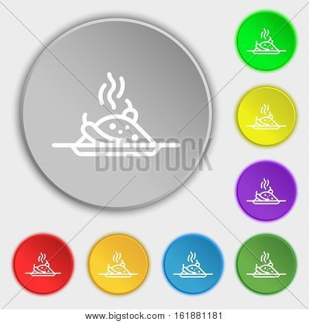 Plate With Red Hot Chili Pepper And Burning Porrige Icon Sign. Symbol On Eight Flat Buttons. Vector