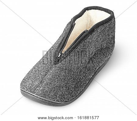 One piece the comfortable dark gray slipper isolated on white background