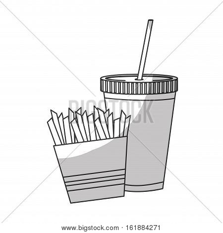 french fries box  and soft drink icon over white background. fast food concept. vector illusttration