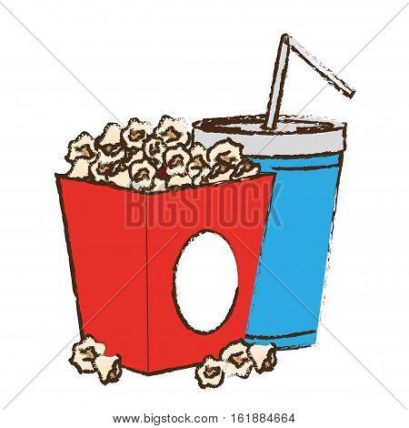 pop corn box and soda drink icon over white background. colorful design. vector illustration