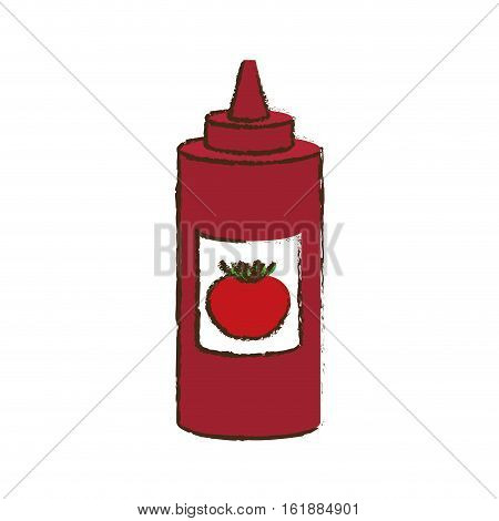 ketchup sauce bottle icon over white background. colorful design. vector illustration