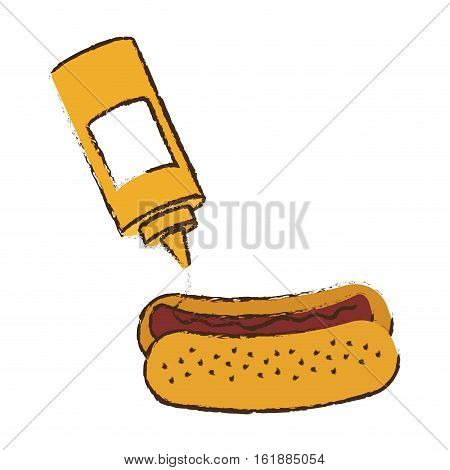 mustard bottle and hot dog icon over white background. colorful design. vector illustration