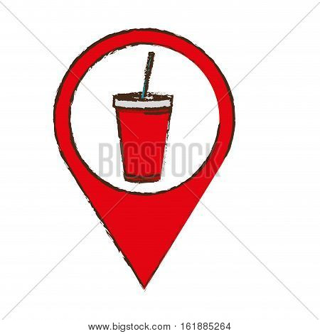 pin with soda drink disposable cup with straw icon over white background. colorful design. vector illustration