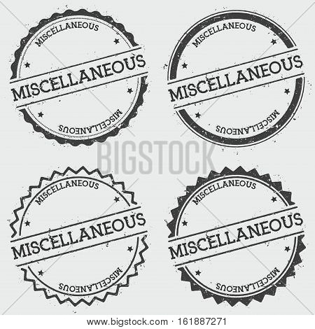Miscellaneous Insignia Stamp Isolated On White Background. Grunge Round Hipster Seal With Text, Ink