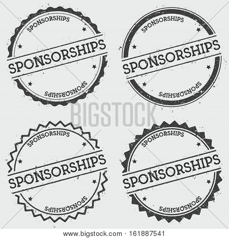 Sponsorships Insignia Stamp Isolated On White Background. Grunge Round Hipster Seal With Text, Ink T