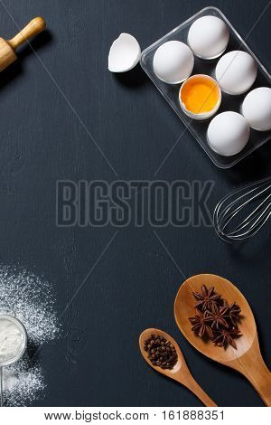 Baking Background With Eggs, Floor And Kitchen Tools