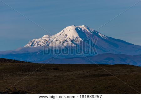 Volcan Chimborazo the farthest point from the earth seen from a distance
