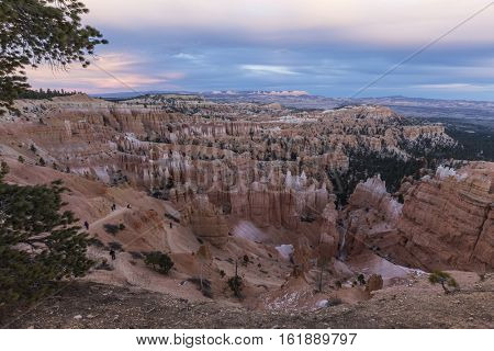 After sunset view from the Rim Trail at Bryce Canyon National Park in Southern Utah.