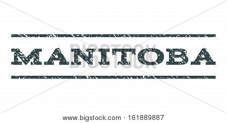 Manitoba watermark stamp. Text tag between horizontal parallel lines with grunge design style. Rubber seal stamp with unclean texture. Vector soft blue color ink imprint on a white background.