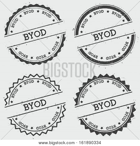 Byod Insignia Stamp Isolated On White Background. Grunge Round Hipster Seal With Text, Ink Texture A