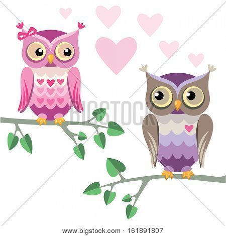 two owls in love  sitting on a tree branches
