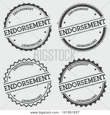 Endorsement Insignia Stamp Isolated On White Background. Grunge Round Hipster Seal With Text, Ink Te