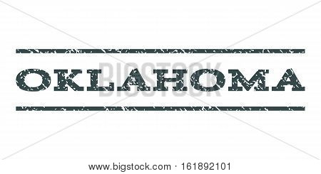 Oklahoma watermark stamp. Text tag between horizontal parallel lines with grunge design style. Rubber seal stamp with unclean texture. Vector soft blue color ink imprint on a white background.