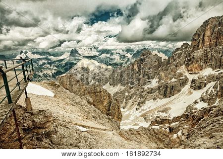 Peaks of the Monte Cristallo Massif in the Dolomites from the Bianca Peak near to Cortina Italy. (HDR image with black gold filter)