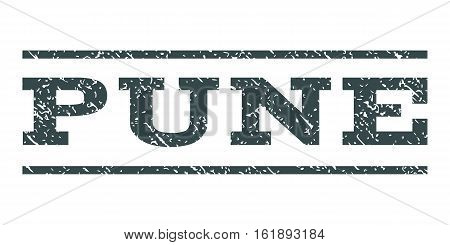 Pune watermark stamp. Text caption between horizontal parallel lines with grunge design style. Rubber seal stamp with dust texture. Vector soft blue color ink imprint on a white background.