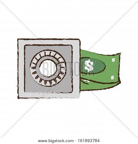 drawing save box money cash bills vector illustration eps 10