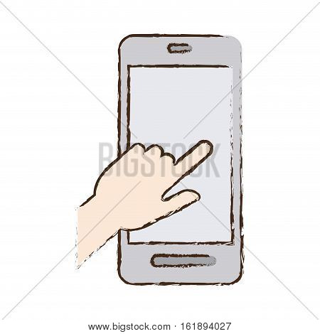 smartphone hand touch payment digital sketch vector illustration eps 10