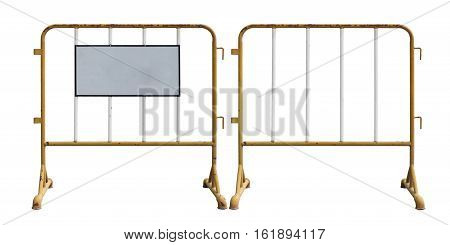 old yellow steel barrier with blank signage isolated on white background with clipping path