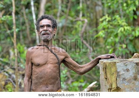 Wild Jungle, Irian Jaya, New Guinea, Indonesia - May 15, 2016: Portrait Of A Papuan Oldman From A Ko