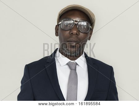 African Descent Man Wearing Glasses Concept