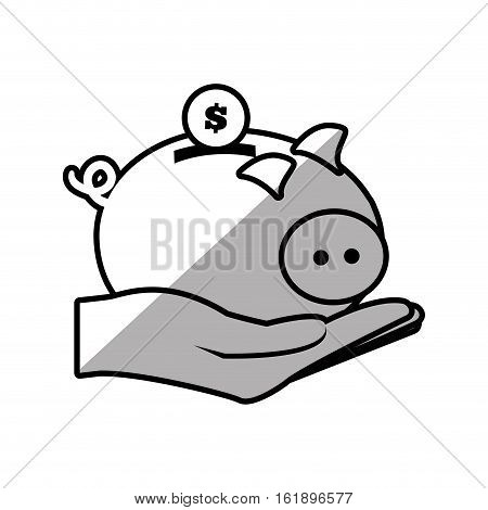 hand holding piggy coins money safe shadow vector illustration eps 10
