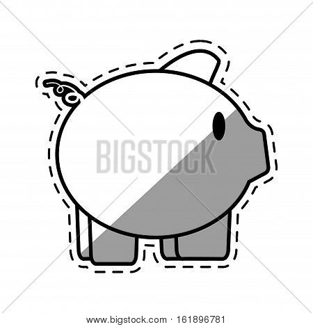 piggy save money bank cut shadow vector illustration eps 10