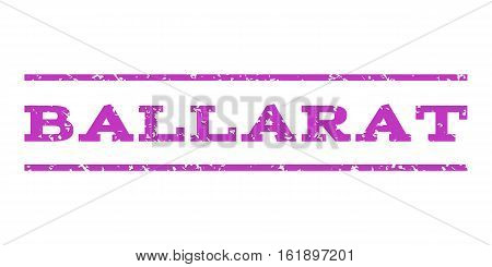 Ballarat watermark stamp. Text caption between horizontal parallel lines with grunge design style. Rubber seal stamp with dust texture. Vector violet color ink imprint on a white background.