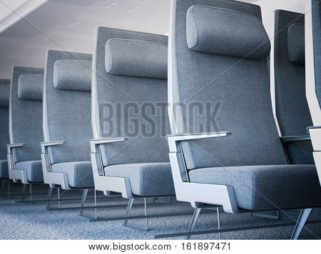 Row of gray airplane seats in the cabin. 3d rendering