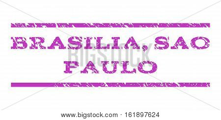 Brasilia, Sao Paulo watermark stamp. Text caption between horizontal parallel lines with grunge design style. Rubber seal stamp with dust texture.