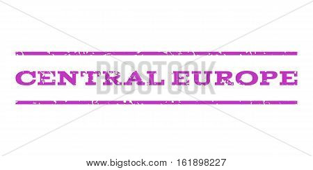 Central Europe watermark stamp. Text tag between horizontal parallel lines with grunge design style. Rubber seal stamp with scratched texture. Vector violet color ink imprint on a white background.