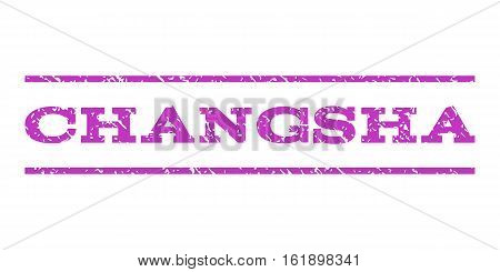 Changsha watermark stamp. Text tag between horizontal parallel lines with grunge design style. Rubber seal stamp with dirty texture. Vector violet color ink imprint on a white background.