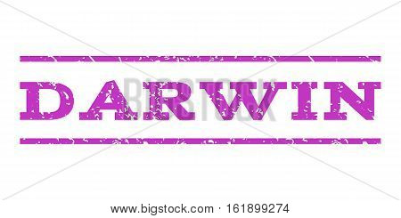 Darwin watermark stamp. Text caption between horizontal parallel lines with grunge design style. Rubber seal stamp with dust texture. Vector violet color ink imprint on a white background.
