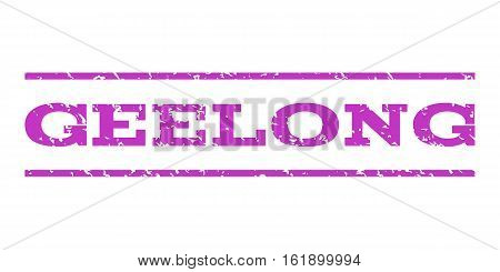Geelong watermark stamp. Text caption between horizontal parallel lines with grunge design style. Rubber seal stamp with dust texture. Vector violet color ink imprint on a white background.